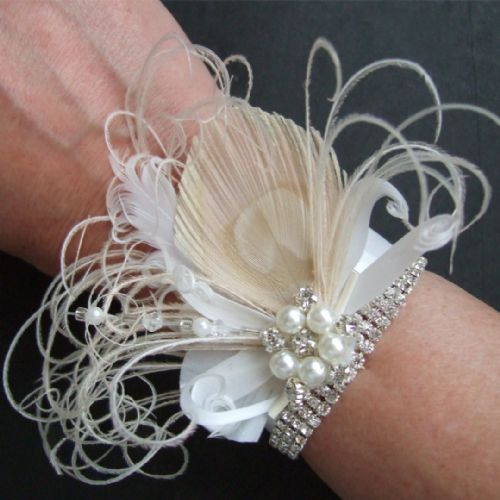"Bridal Wrist Corsage Bracelet Cuff Peacock Feathers + Crystals Art Deco Inspired ""Bea"" Cream White"
